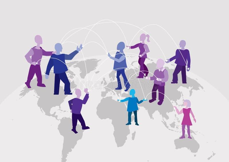 Connexion du monde Le personnes à travers le monde différent travaille ensemble, communique et échange l'information illustration stock