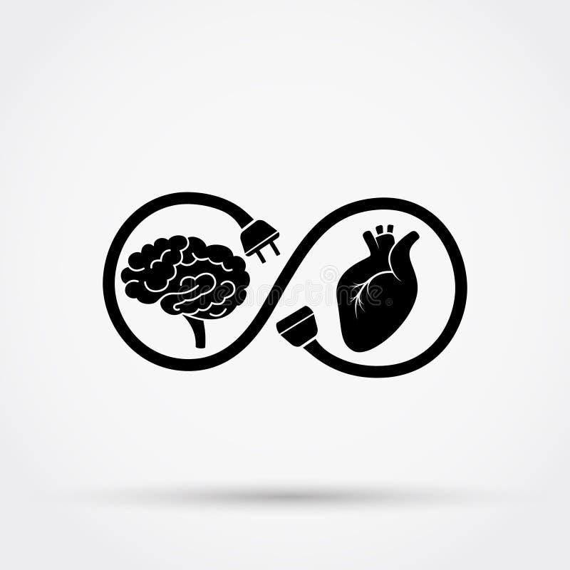 Connexion entre le coeur et l'esprit Illustration de vecteur illustration stock