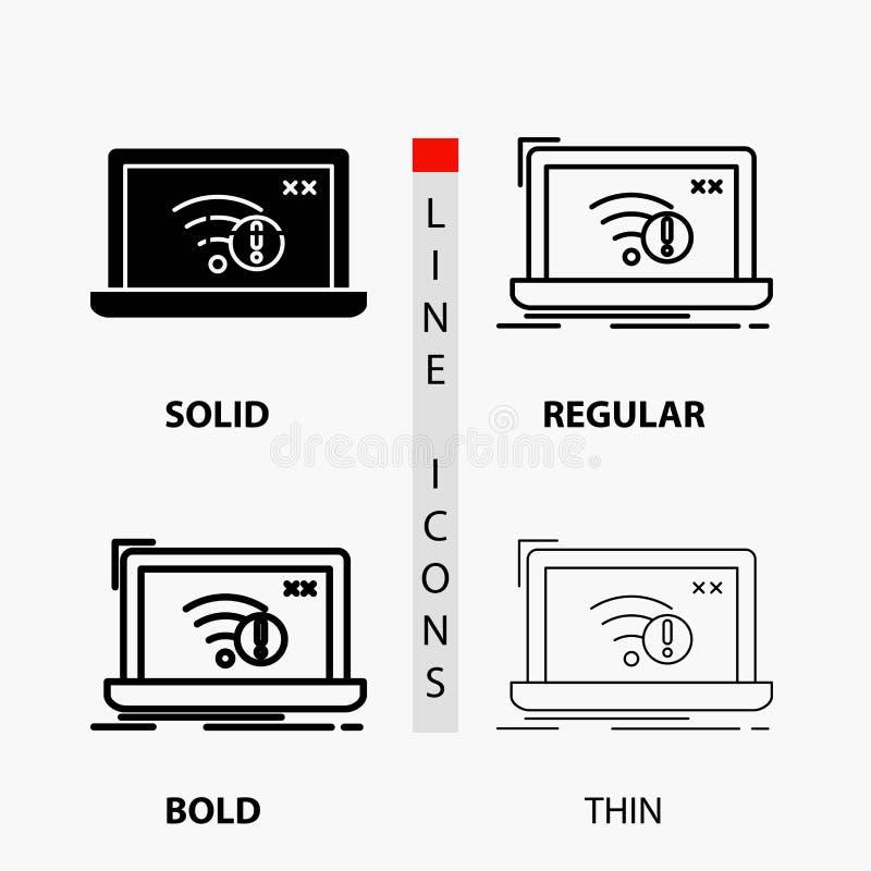 connexion, erreur, Internet, icône perdue, d'Internet dans la ligne et le style minces, réguliers, audacieux de Glyph Illustratio illustration de vecteur