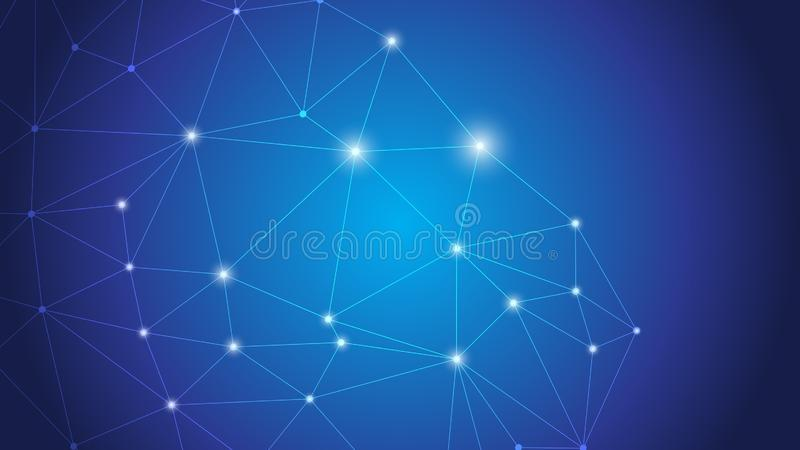 Connexion globale d'affaires, point se reliant de réseau abstrait, lignes, d'isolement sur le fond, concept de technologie numéri illustration de vecteur