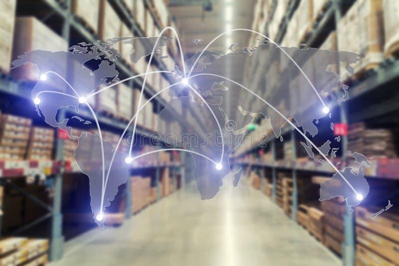Connexion globale d'association de logistique de carte d'entrepôt de cargaison pour le fond d'importations-exportations de logist photos stock