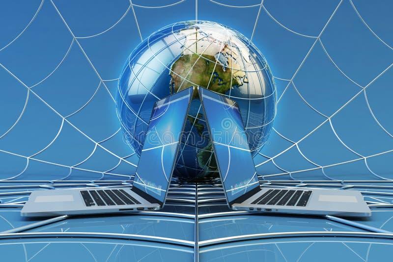 Connexion globale de réseau informatique, communication en ligne et concept de technologie d'Internet photographie stock