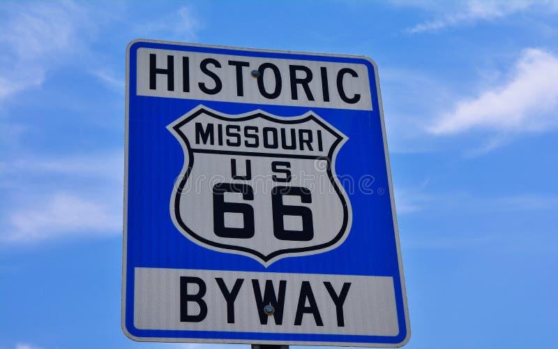Connexion historique Missouri Etats-Unis de route de l'itinéraire 66 image libre de droits