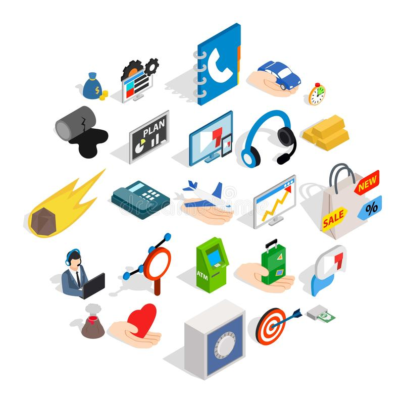 Connexion icons set, isometric style. Connexion icons set. Isometric set of 25 connexion vector icons for web isolated on white background stock illustration