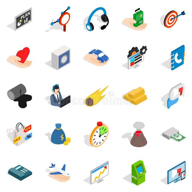Connexion icons set, isometric style. Connexion icons set. Isometric set of 25 connexion vector icons for web isolated on white background royalty free illustration