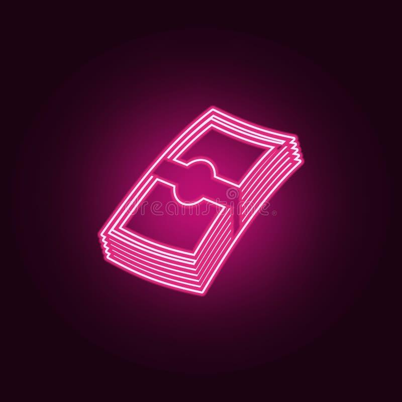 connexion l'icône de cristal de jeu Éléments de jeu dans les icônes au néon de style E illustration de vecteur