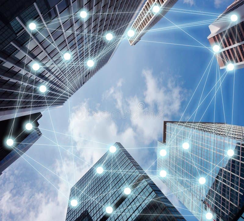 Connexion occupée dans la grande ville illustration de vecteur