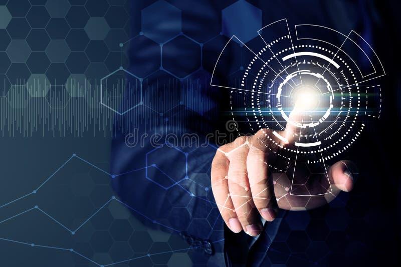 Connexion réseau émouvante de main d'homme d'affaires, concept d'affaires image libre de droits