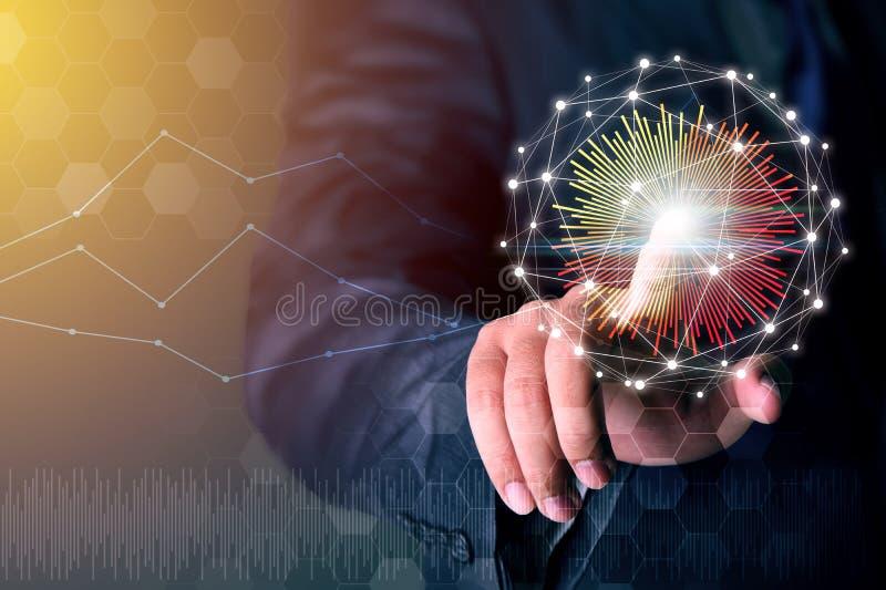 Connexion réseau émouvante de main d'homme d'affaires, concept d'affaires photos libres de droits