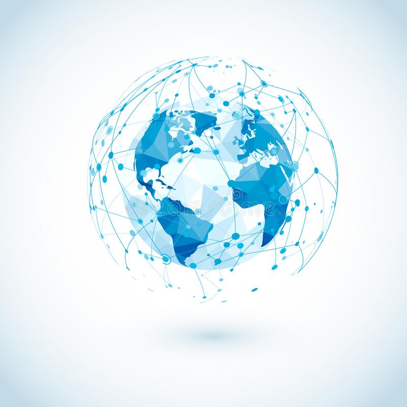 Connexion réseau globale Basse carte polygonale du monde avec les communications numériques abstraites Points et lignes structure illustration libre de droits