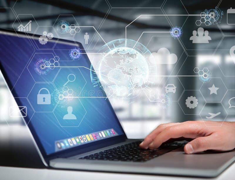 Connexion réseau internationale d'affaires montrée sur futuris photographie stock