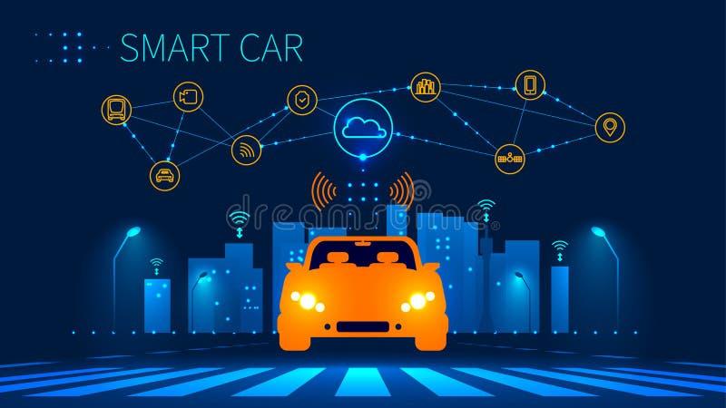 Connexion réseau sans fil de voiture intelligente avec la ville futée illustration stock