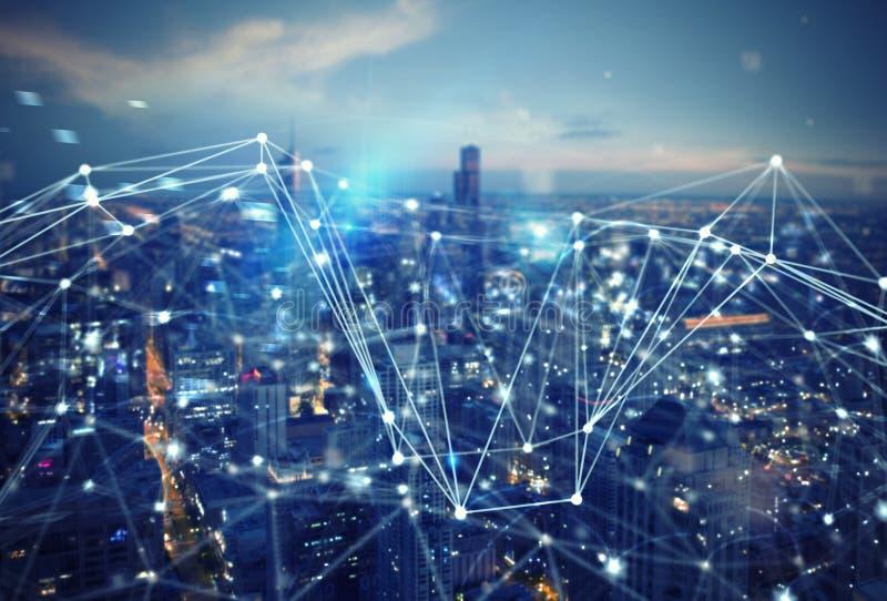 Connexion rapide dans la ville Fond abstrait de technologie photographie stock libre de droits