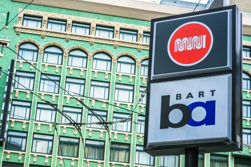 Connexion San Fransisco de MUNI et de BART image stock