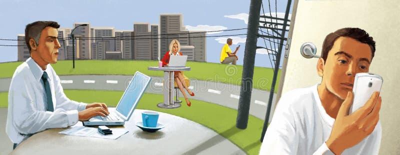 Connexion sans fil Les gens travaillent à distance en dehors du bureau Pastoral urbain photos stock