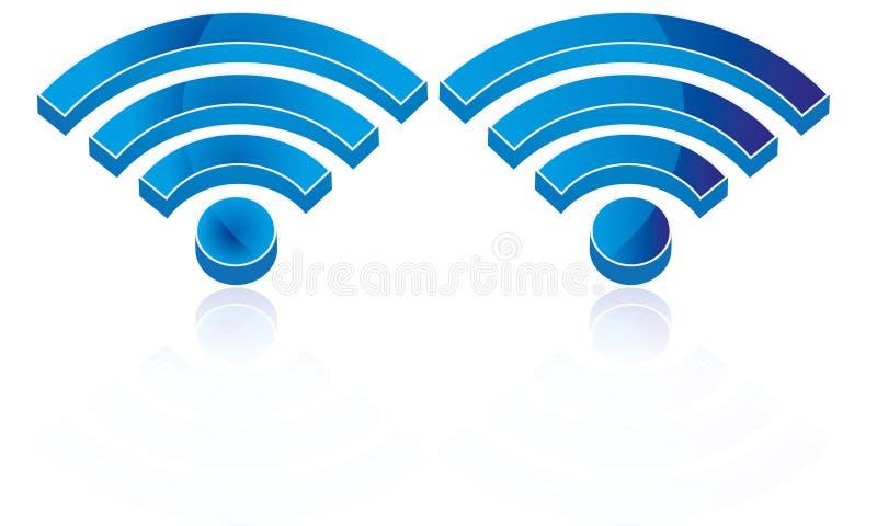 Connexion sans fil Logo Wifi Icon Wifi Sign du vecteur 3D Wifi illustration libre de droits