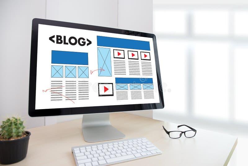 Connexion sociale N de media de page Web en ligne d'Internet de site Web de BLOG images libres de droits