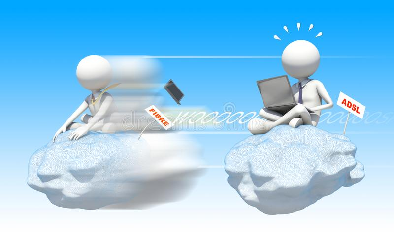 Connexion speed. Two characters on cloud at different speed vector illustration