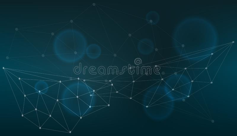 Connexion technologique dans l'ordinateur de nuage, réseau bleu de point, fond abstrait, concept de la représentation de réseau M illustration de vecteur