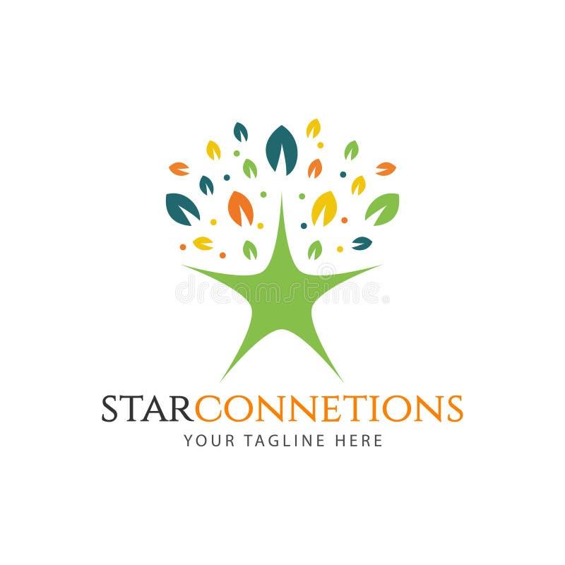 Connexions d'étoile Logo Vector Template Design Illustration illustration libre de droits