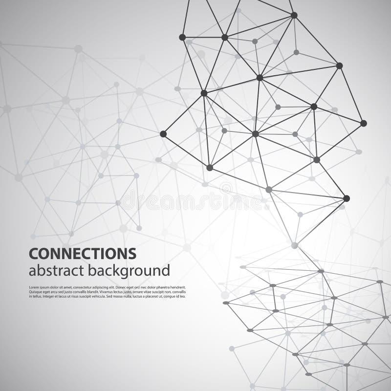 Connexions réseau moléculaires, globales ou d'affaires illustration stock
