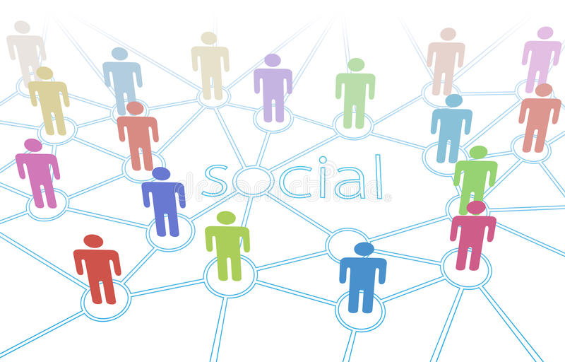 Connexions sociales de medias de gens de couleur de réseau illustration stock