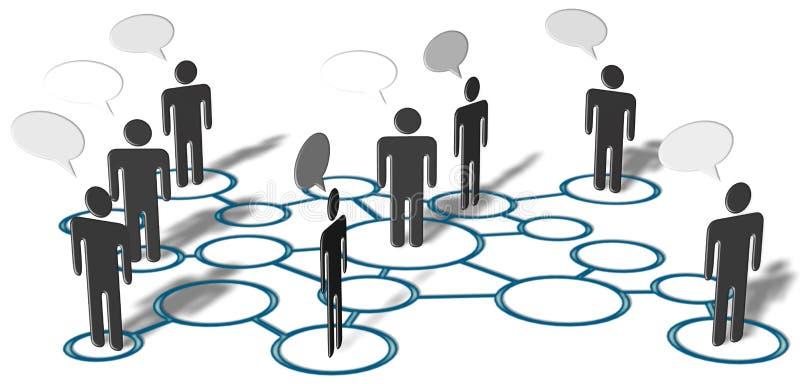 Connexions sociales de medias de réseau d'entretien de gens illustration stock