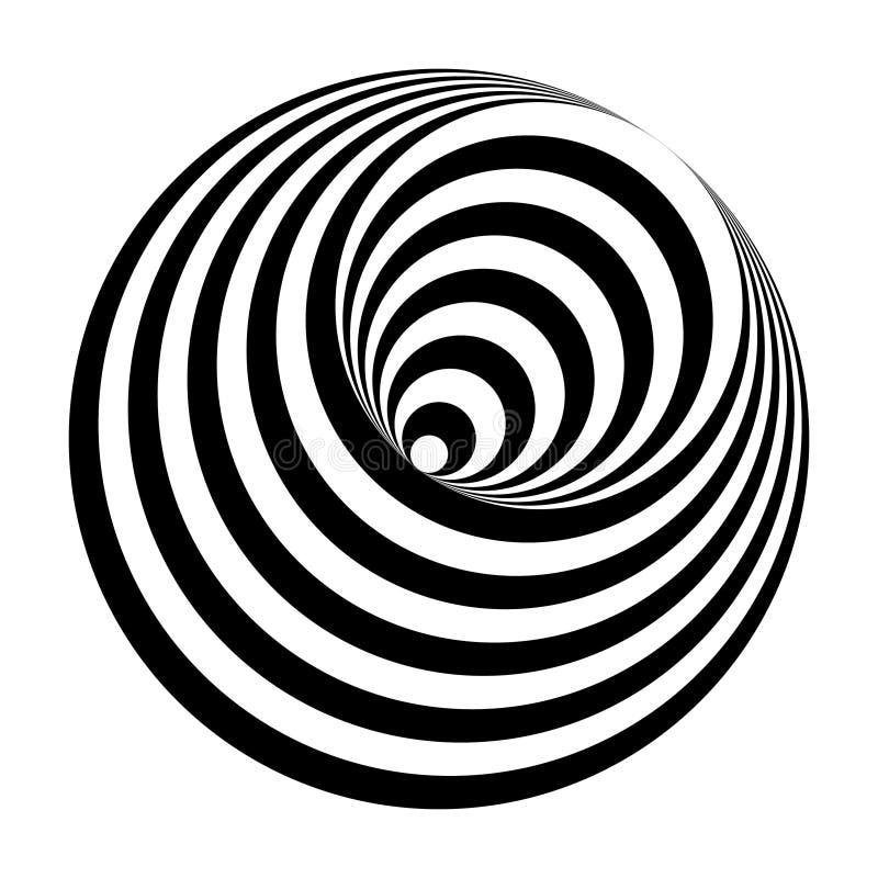 Cono in bianco e nero dei cerchi di illusione ottica royalty illustrazione gratis