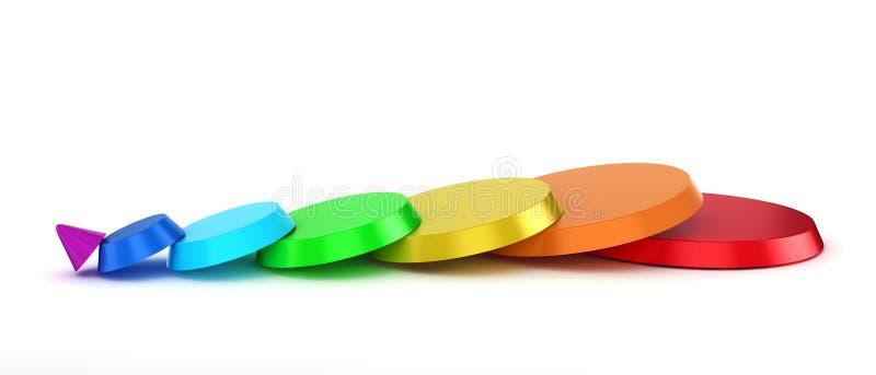 cono cortado colorido 3d stock de ilustración