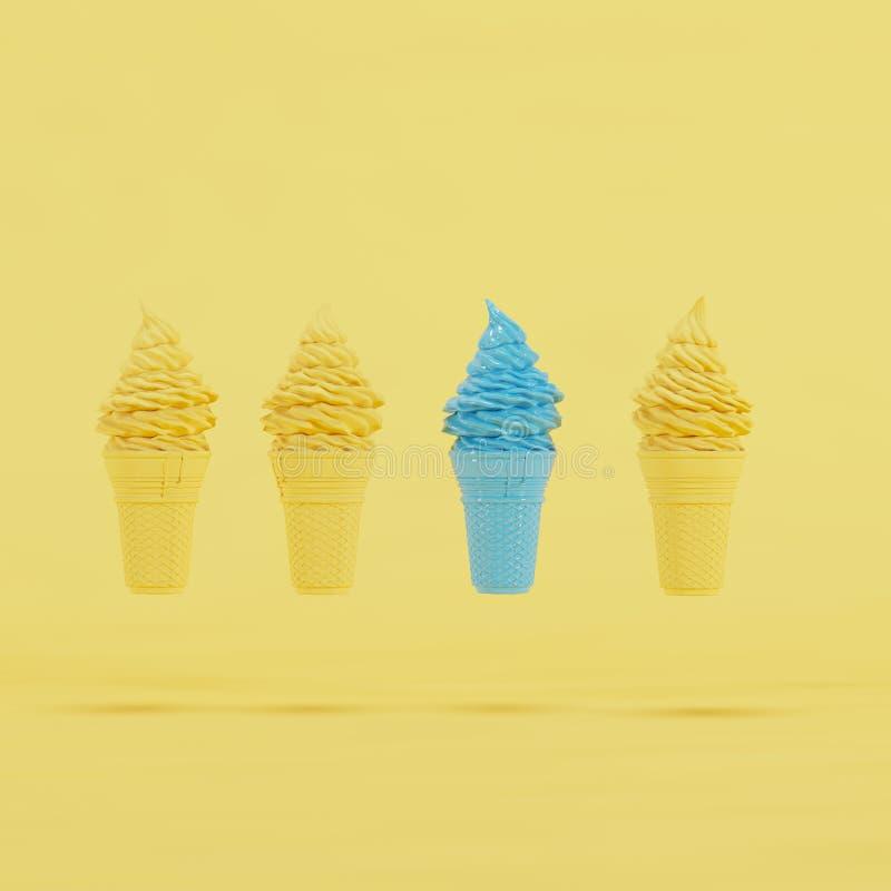 Cono de helado azul excepcional que flota entre conos de helado amarillos en fondo amarillo en colores pastel ilustración del vector