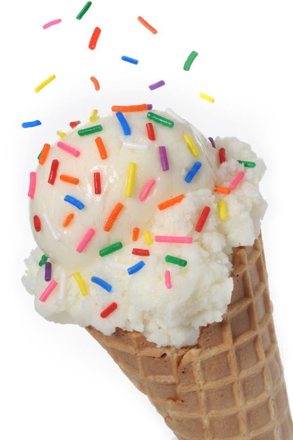 Cono de helado de vainilla fotografía de archivo libre de regalías