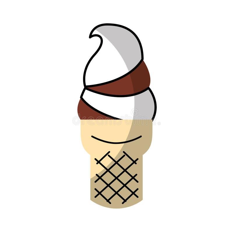 Cono de helado delicioso stock de ilustración