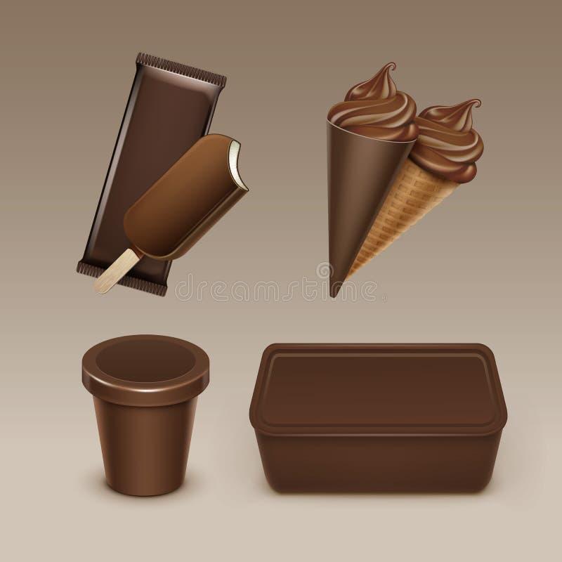 Cono de la galleta del helado de chocolate con la caja plástica stock de ilustración