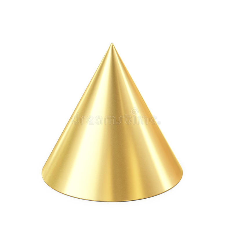 Cono de oro aislado en el fondo blanco libre illustration