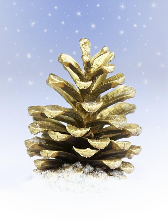 Cono de oro del pino ilustración del vector