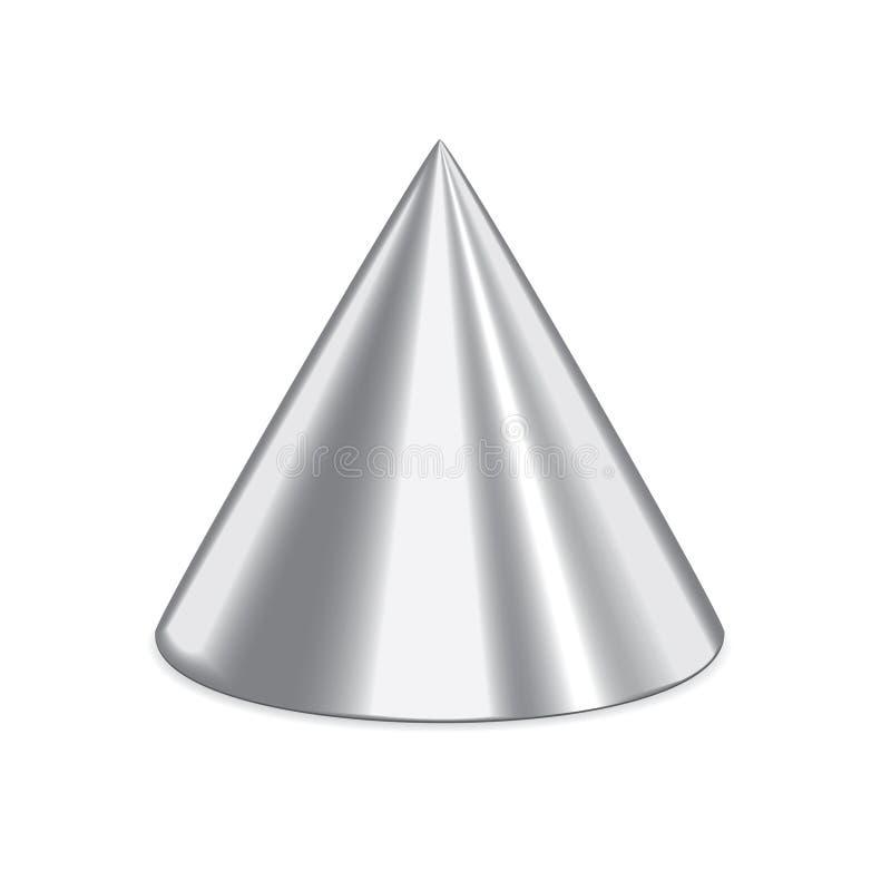 Cono de plata 3d stock de ilustración
