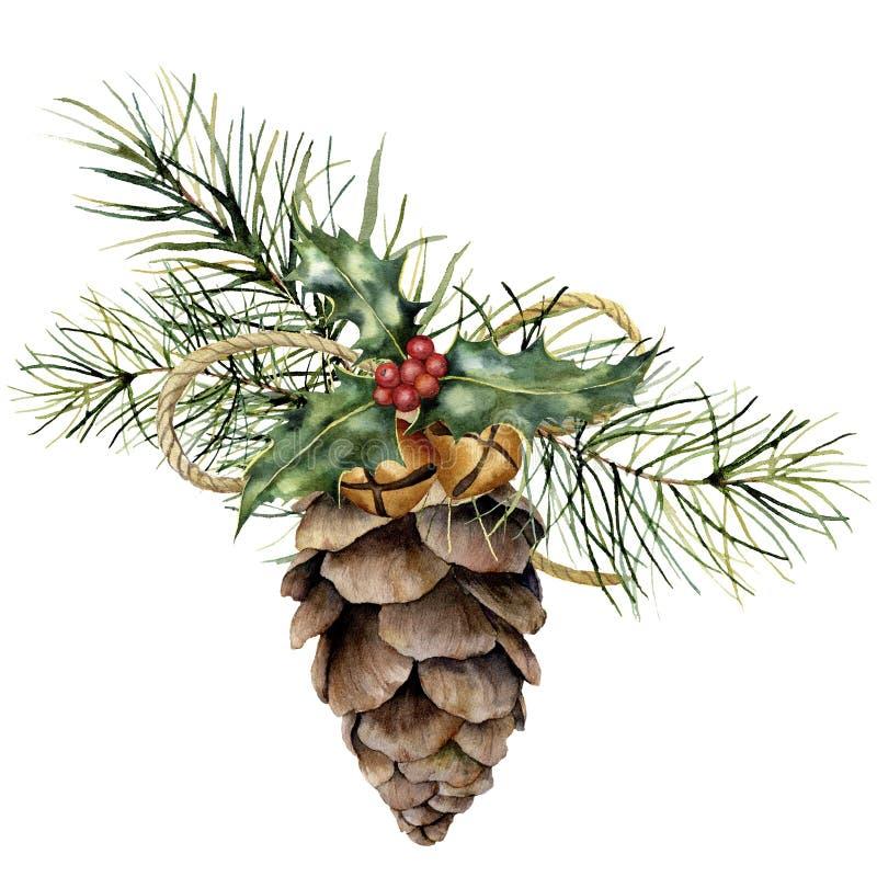 Cono del pino de la acuarela con la decoración de la Navidad Cono pintado a mano del pino con la rama de árbol de navidad, las ca stock de ilustración