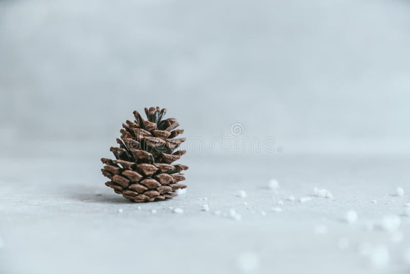 Cono del pino en la tabla de madera blanca rústica, backg de la decoración de la Navidad foto de archivo