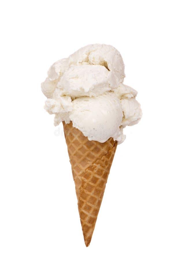 Cono della crema di gelato alla vaniglia immagini stock