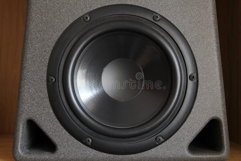 Cono della spigola o dell'altoparlante per basse frequenze di un gabinetto ad alta fedeltà di qualità superiore dell'altoparlante fotografia stock libera da diritti