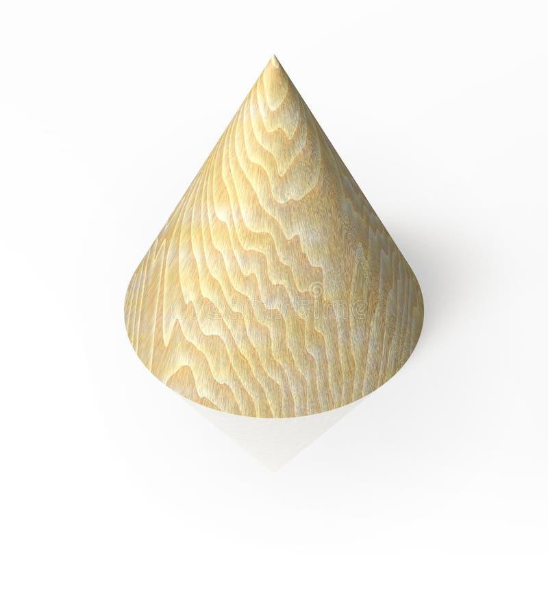 Cono di legno isolato illustrazione di stock