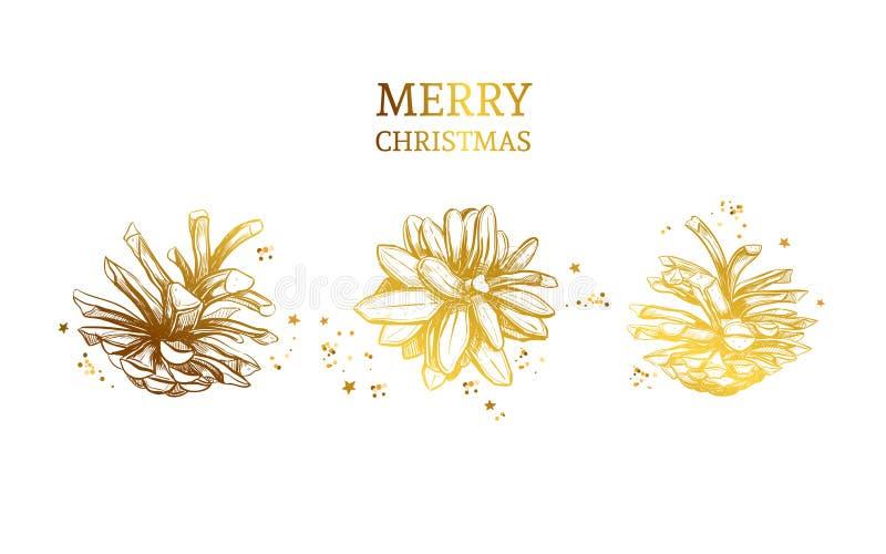 Cono estilizado de oro del pino ilustración del vector