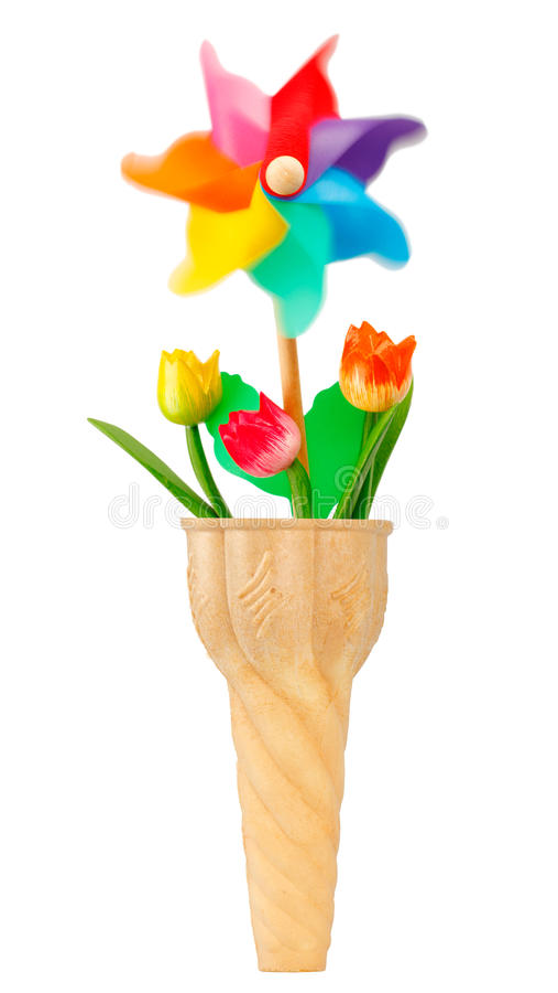 Cono gelato con la girandola ed i fiori immagine stock for Fiori con la p
