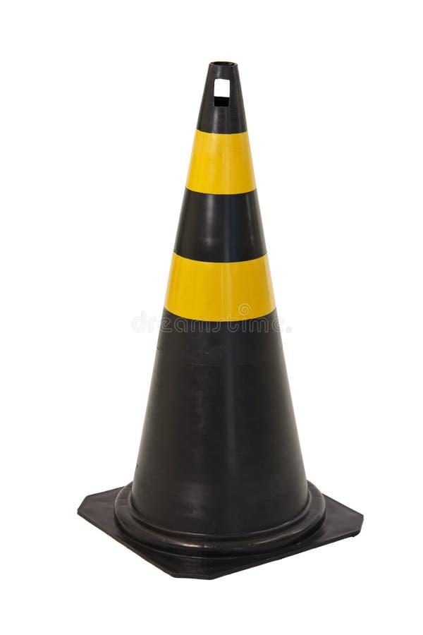 Cono negro y amarillo aislado del tráfico foto de archivo