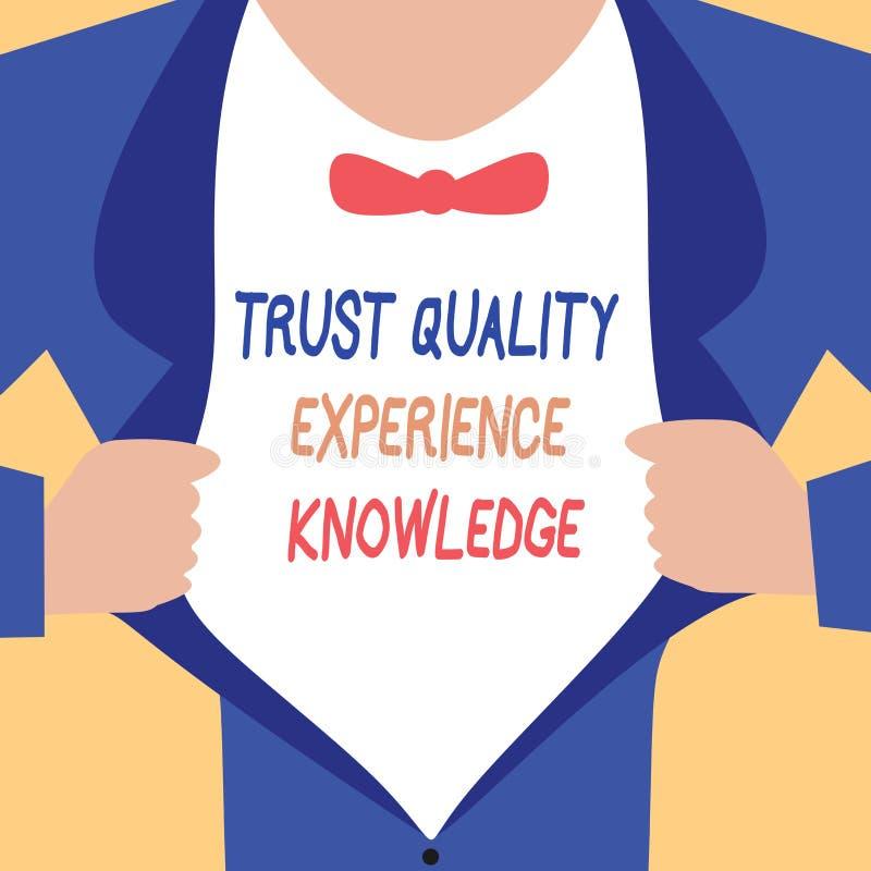 Conocimiento de la experiencia de la calidad de la confianza de la escritura del texto de la escritura Servicio y satisfacción de ilustración del vector