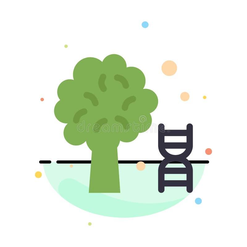 Conocimiento, DNA, ciencia, plantilla plana del icono del color del extracto del árbol ilustración del vector
