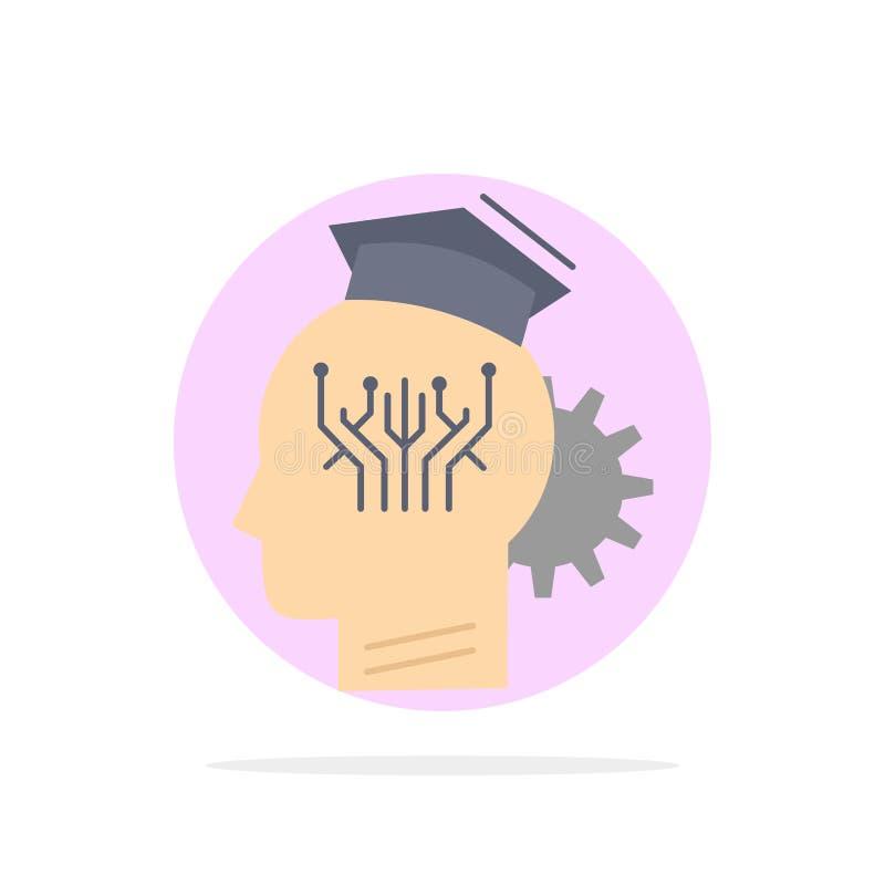 conocimiento, gestión, distribución, elegante, vector plano del icono del color de la tecnología stock de ilustración