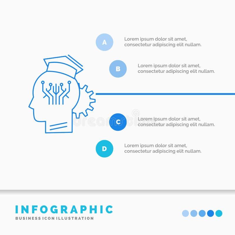 conocimiento, gestión, distribución, plantilla elegante, de la tecnología de Infographics para la página web y presentación L?nea stock de ilustración