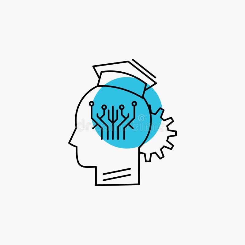 conocimiento, gesti?n, distribuci?n, elegante, l?nea icono de la tecnolog?a ilustración del vector
