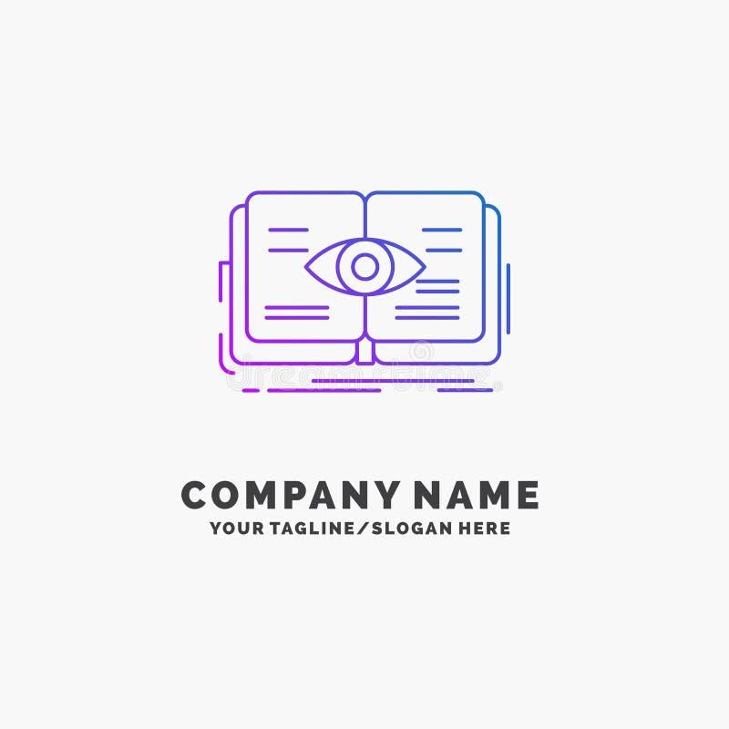 conocimiento, libro, ojo, visi?n, negocio p?rpura Logo Template del crecimiento Lugar para el Tagline ilustración del vector